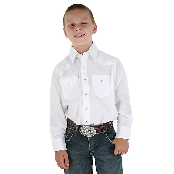 Boyu0026#39;s White Long Sleeve Dress Western Snap Shirt | Boys Shirts By Wrangleru00ae