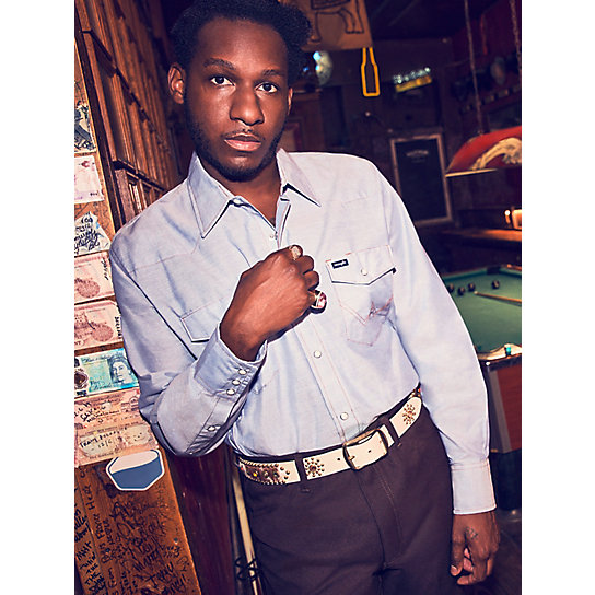 Cowboy Cut® Work Western Chambray Long Sleeve Shirt (Big & Tall Sizes)