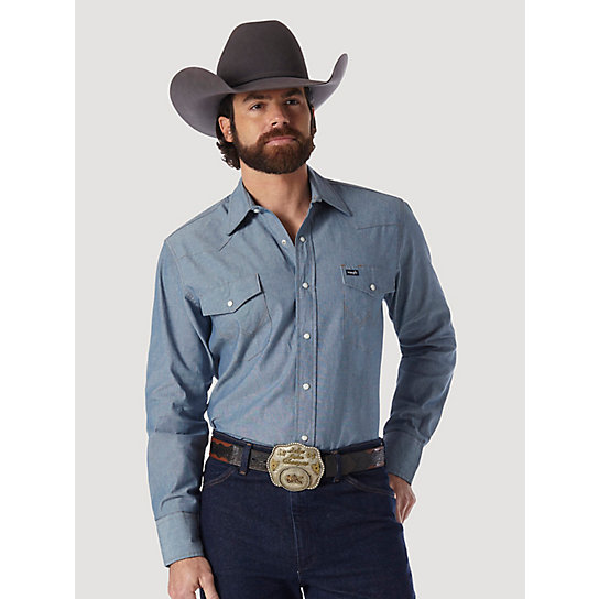 Cowboy Cut® Work Western  Indigo Chambray Long Sleeve Shirt (Big & Tall Sizes)