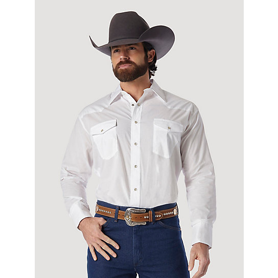 Wrangler® Western Snap Shirt - Long Sleeve Solid Broadcloth (Big & Tall Sizes)