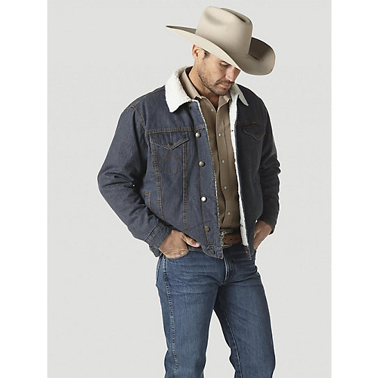 Wrangler® Western Styled Sherpa Lined Denim Jacket Rustic (Tall Sizes)