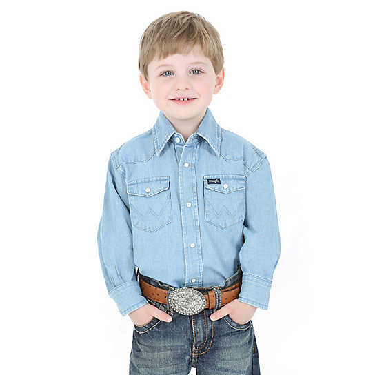 Boy's Wrangler® Western Long Sleeve Solid Snap Shirt