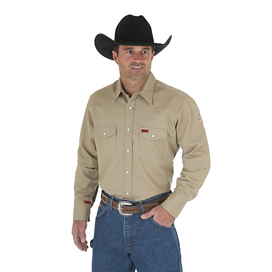 Wrangler® Flame Resistant Long Sleeve Twill Work Shirt