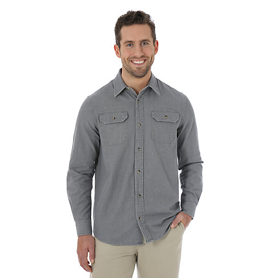 Wrangler® Long Sleeve Twill/Chambray Shirt (Big)
