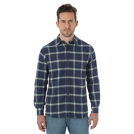 Wrangler Long Sleeve Flannel Plaid Shirt Mood Indigo