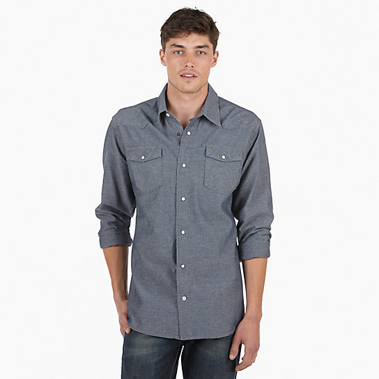 Wrangler® RED Long Sleeve Solid Shirt -Dark Chambray