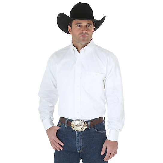 George Strait Long Sleeve White Twill Shirt