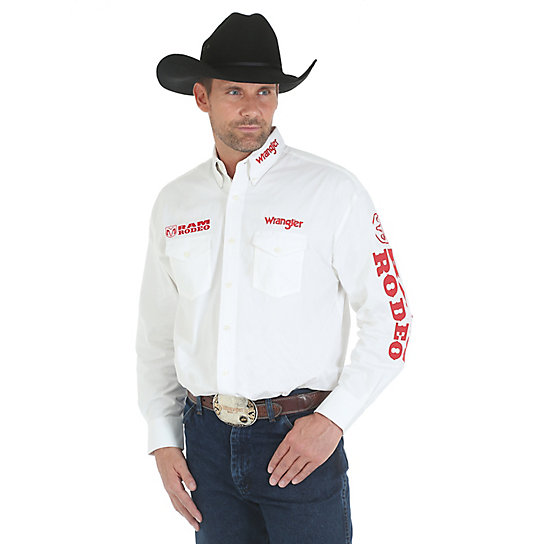 Wrangler® Logo Shirt Collection Long Sleeve Lightweight Twill Solid - White (Tall Sizes only)