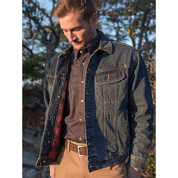 Wrangler Rugged Wear 174 Flannel Lined Denim Jacket Mens