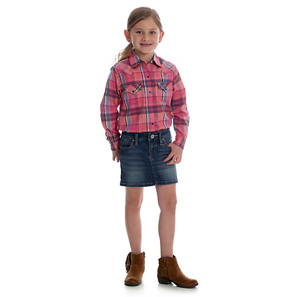 Girl's Wrangler® Premium Patch® Lined Denim Skirt