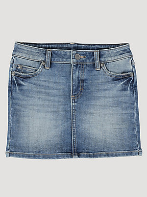 Girl's Adjust-To-Fit Waist Denim Skirt