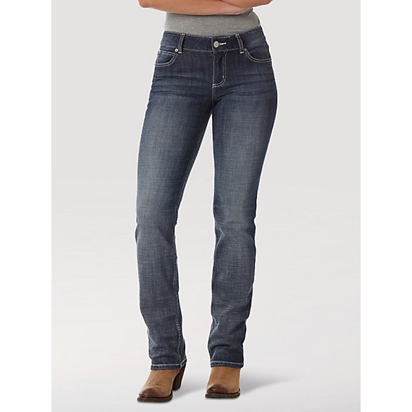Product Features Mid stretch denim with a straight leg and easy fit through hip and thigh.
