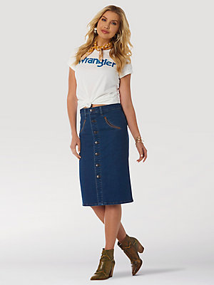 Women's Wrangler Retro® High Rise Denim Pencil Skirt