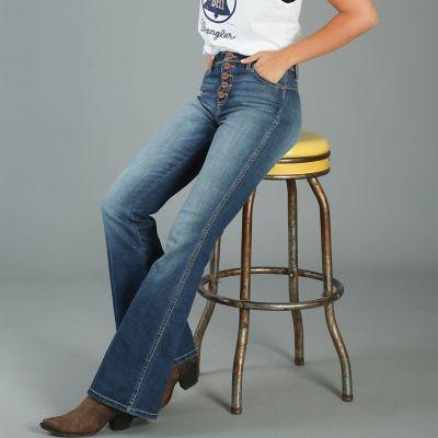 Women S Five Button High Waisted Flare Leg Jean Womens