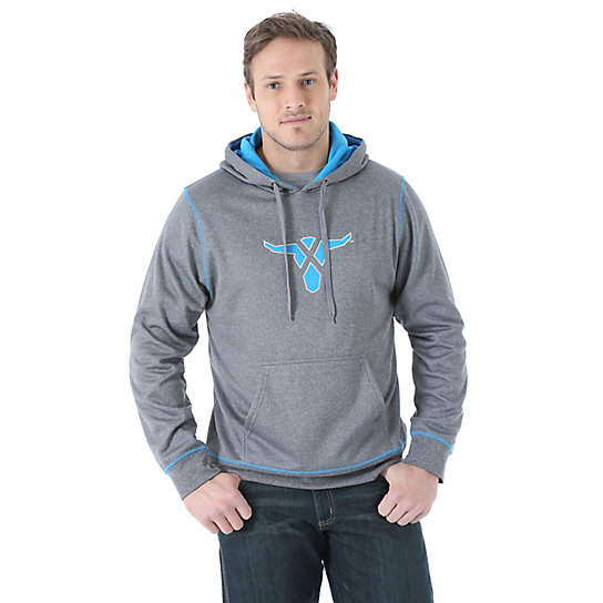 Wrangler® 20X® Drawstring Hoodie - Charcoal Heather/Light Blue