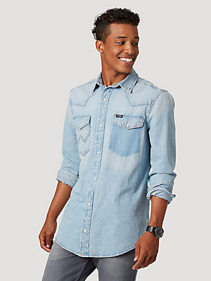 Men's Wrangler® Acid Wash Denim Shirt