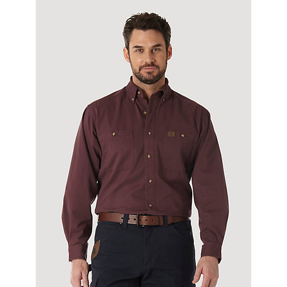 Wrangler riggs workwear long sleeve button down solid for Tall mens work shirts