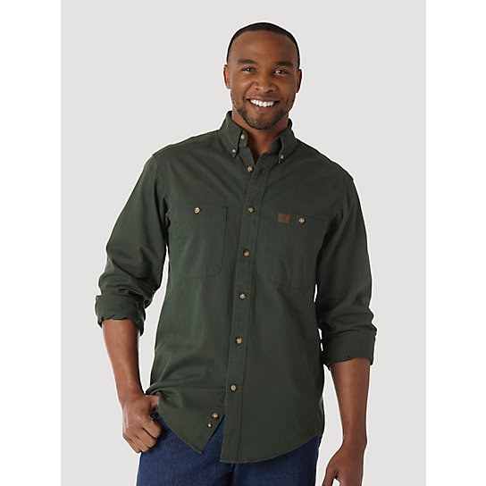 Wrangler® RIGGS Workwear® Long Sleeve Button Down Solid Twill Work Shirt