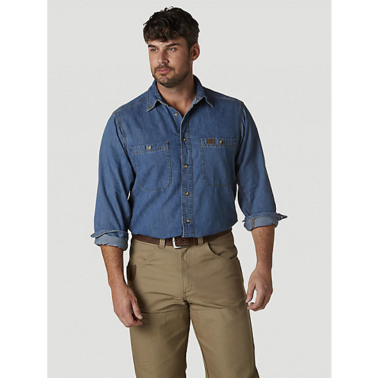 Wrangler® RIGGS Workwear® Long Sleeve Button Down Solid Denim Work Shirt