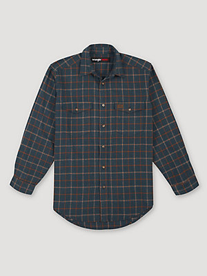 Men's Wrangler® RIGGS Workwear® Heavy Weight Flannel Button Down Plaid Shirt