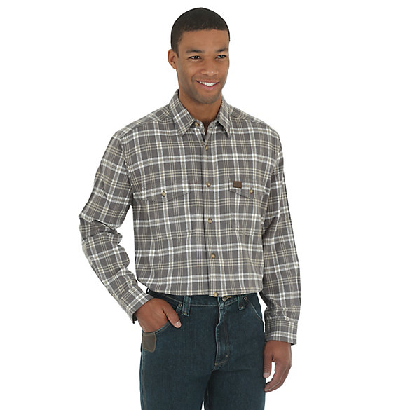 Men's Wrangler® RIGGS Workwear® Heavy Weight Flannel Button Down Plaid Shirt (Big & Tall)
