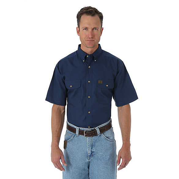 Men's Wrangler® RIGGS Workwear® Short Sleeve Button Down Solid Riptop Work Shirt (Big & Tall)