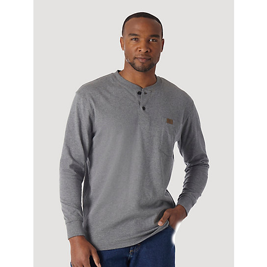 Wrangler® RIGGS Workwear® Long Sleeve Solid Henley (Big & Tall Sizes)