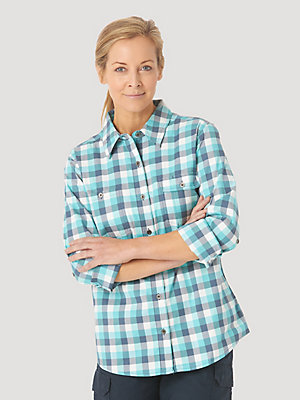 Women's Wrangler® RIGGS Workwear® Long Sleeve Vented Plaid Work Shirt