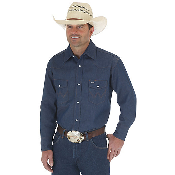Cowboy Cut® Work Western Rigid Denim Long Sleeve Shirt (Big & Tall Sizes)