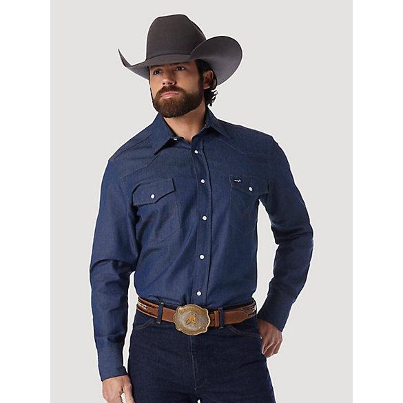fac5d52d773 Cowboy Cut® Work Western Rigid Denim Long Sleeve Shirt
