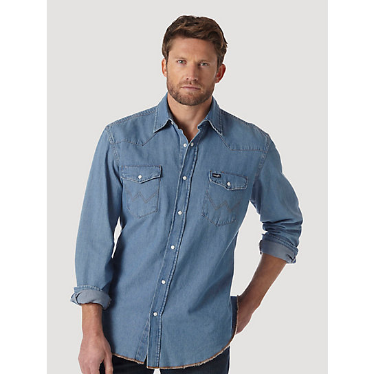 Cowboy Cut® Work Western Stonewash Denim Long Sleeve Western Snap Solid Shirt (Big & Tall Sizes)