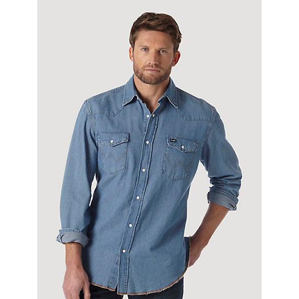 Cowboy Cut® Work Western Stonewash Denim Long Sleeve Western Snap Solid Shirt