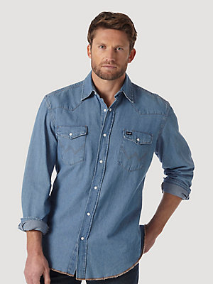 Cowboy Cut® Long Sleeve Western Denim Snap Work Shirt