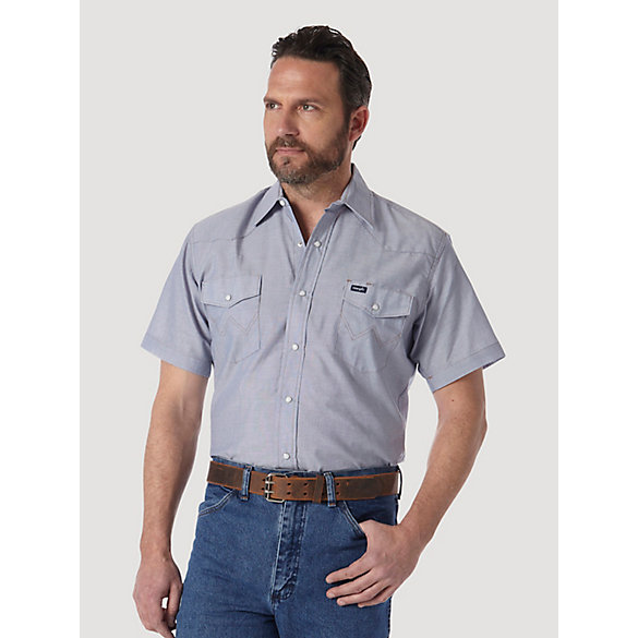 Cowboy Cut® Work Short Sleeve Western Snap Solid Chambray Shirt