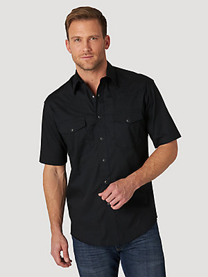 Men's Wrangler® Short Sleeve Solid Western Snap Sport Shirt