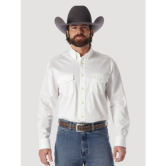 Painted Desert® Long Sleeve Western Button Down Lightweight Solid Twill Shirt (Big & Tall Sizes)