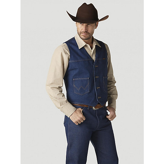 Men's blue denim full back vest with 4 buttons and 2 front pockets. % Cotton. Dry clean only. Vest's front and back are of the same color and fabric. Vest's back is NOT ADJUSTABLE. Matching ties sold separately. Sizes 2XL and up sold at additional cost.