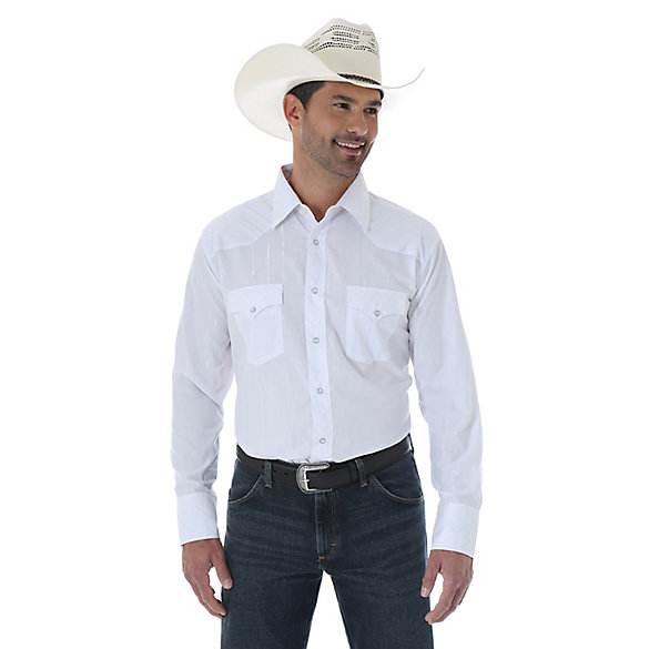 Silver Edition® Western Long Sleeve Spread Collar Striped Shirt - White