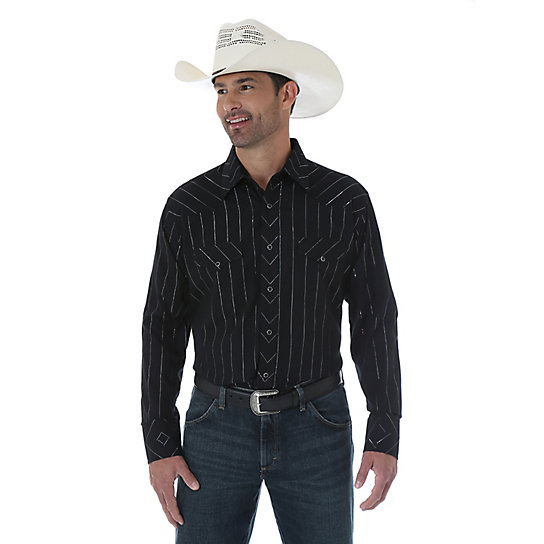 Silver Edition® Western Long Sleeve Spread Collar Striped Shirt -Black