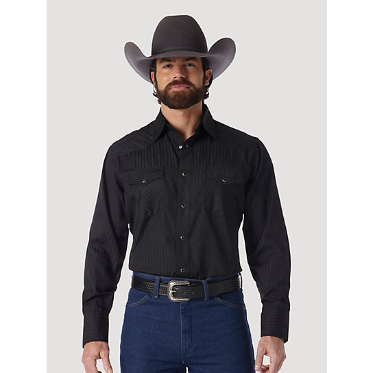Wrangler® Western Long Sleeve Western Snap Dobby Stripe Shirt (Big & Tall Sizes)