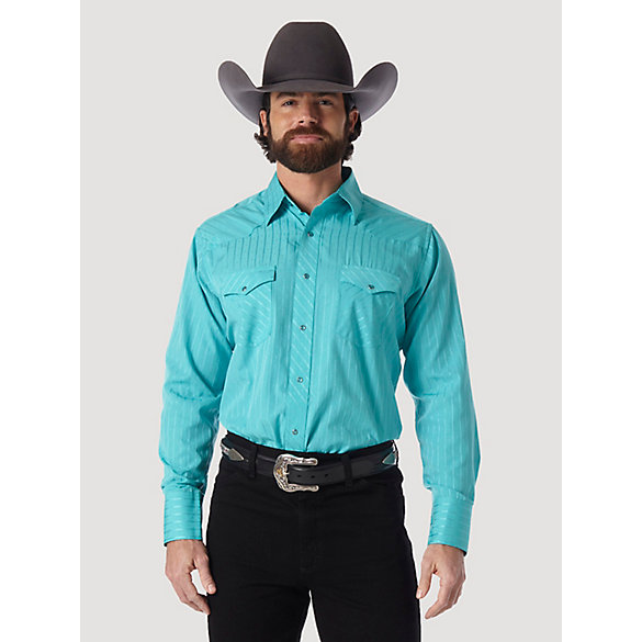 Wrangler® Sports Western Long Sleeve Spread Collar Striped Shirts - Turquoise