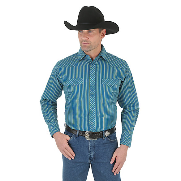 Silver Edition® Long Sleeve Western Snap Striped Shirt