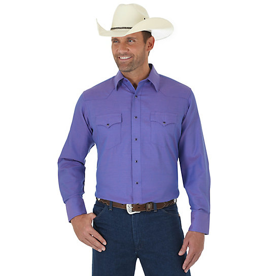 Men's Silver Edition® Long Sleeve Western Snap Solid Shirt