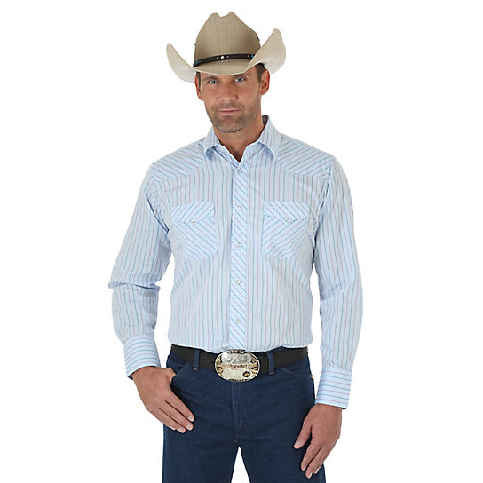 Men 39 s long sleeve western snap striped shirt tall sizes for Mens tall western shirts