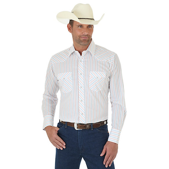 Men's Long Sleeve Western Snap Striped Shirt (Tall Sizes)