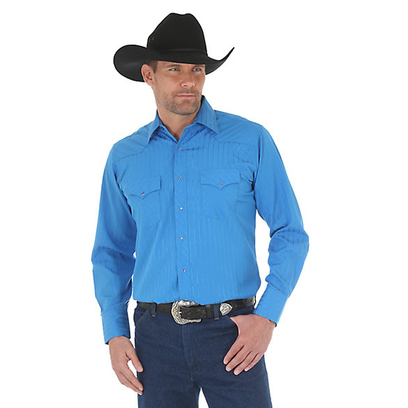 Wrangler® Sports Western Long Sleeve Spread Collar Striped Shirt