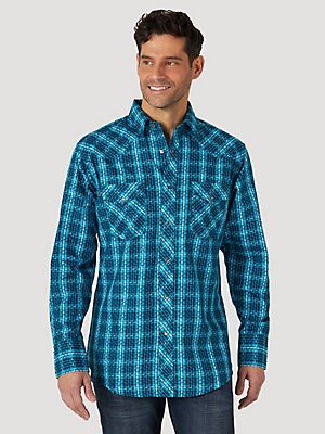 Men's Wrangler® Silver Edition Long Sleeve Western Snap Print Shirt