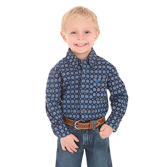 Boy's Classic Button-Down Print Shirt
