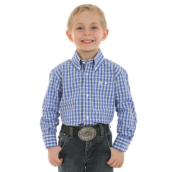 Boy's Classic Long Sleeve Button-Down Plaid Shirt