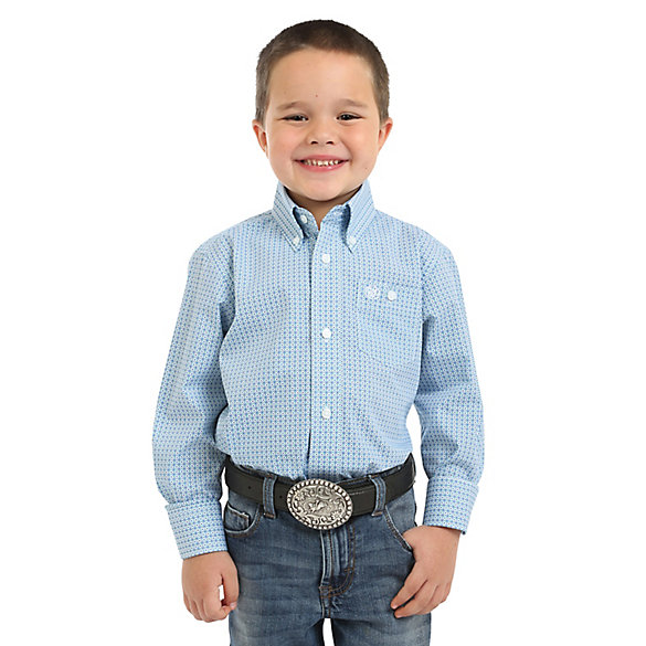 Boy's Classic Long Sleeve Button-Down Print Shirt